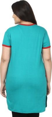 JSR Printed Women's V-neck Blue, Red T-Shirt
