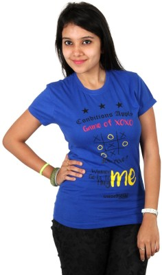 Unofficial Apparel Retails Printed Women's Round Neck Blue T-Shirt