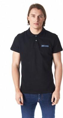 Just Cavalli Solid Men's Polo Black T-Shirt