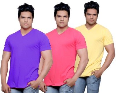 IndiStar Solid Men's Fashion Neck Purple, Pink, Yellow T-Shirt