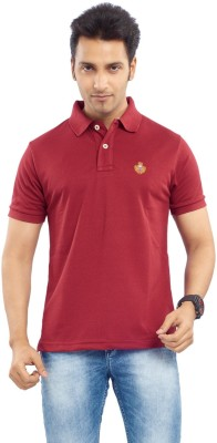 Passport Solid Men's Polo Neck Maroon T-Shirt