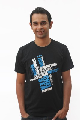 642 Stitches Graphic Print Men's Round Neck Black T-Shirt