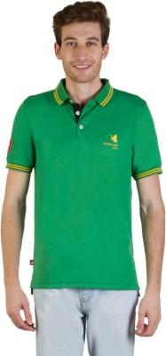 Goodluck Solid Men's Polo Neck Green, Yellow T-Shirt