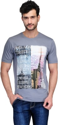 Ausy Printed Men's Round Neck Grey T-Shirt
