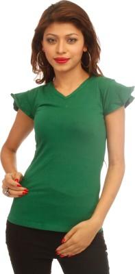 A N, E Solid Women's V-neck Dark Green T-Shirt