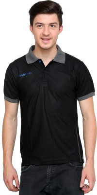 Dida Sportswear Solid Men's Polo Black, Grey T-Shirt