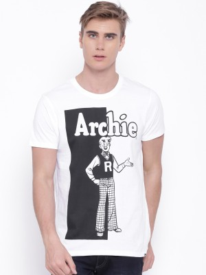 Kook N Keech Archie Printed Men's Round Neck White T-Shirt