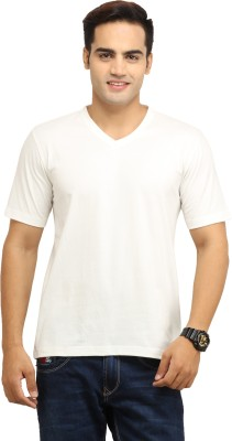 WallWest Solid Men's V-neck Silver T-Shirt