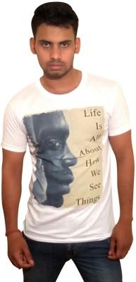 Vee-Raa Printed Men's Round Neck White T-Shirt