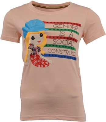 PIN POINT Printed Girl's Round Neck T-Shirt