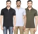 Poshuis Solid Men's Polo Neck Black, Whi...