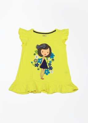 People Printed Girl's Round Neck Yellow T-Shirt