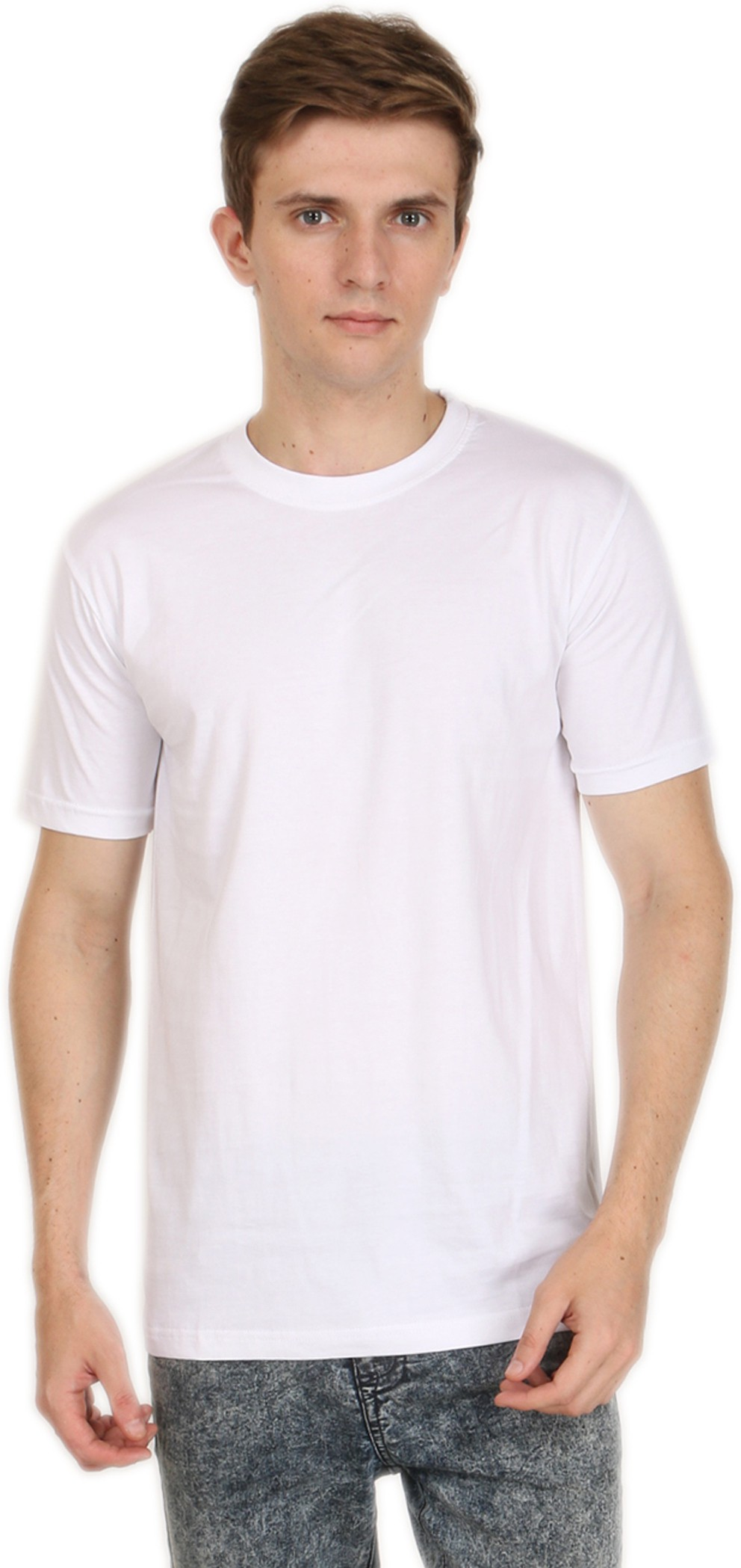 Shopping Monster Solid Men's Round Neck White T-Shirt