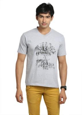 John Caballo Printed Men's V-neck Grey T-Shirt