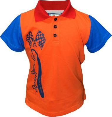 Cool Quotient Printed Boy's Polo Orange, Blue T-Shirt