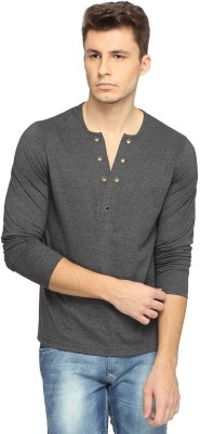 Pepperclub Solid Men's Fashion Neck Grey T-Shirt