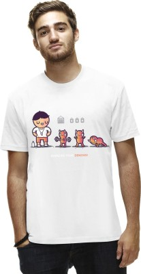 THREADCURRY Graphic Print Men's Round Neck White T-Shirt