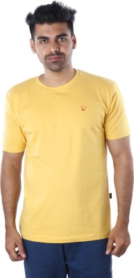Mrtees Solid Men's Round Neck Yellow T-Shirt