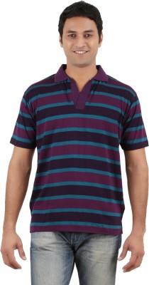 Neoteric Striped Men's Polo Neck Multicolor T-Shirt