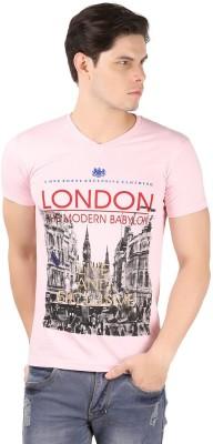 A1 Tees Printed Men's V-neck Pink T-Shirt