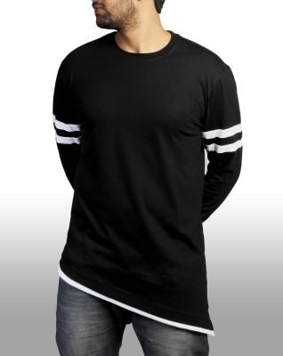 Witty Vogue Applique Men's Round Neck Black T-Shirt
