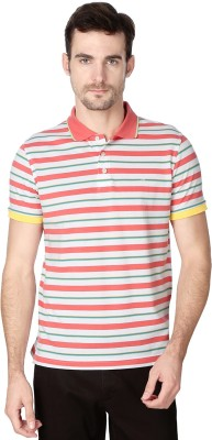 Peter England Striped Men's Polo Neck Pink T-Shirt
