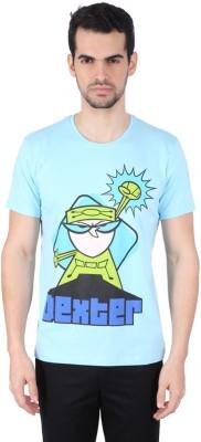 Dexter Graphic Print Men's Round Neck Light Blue T-Shirt
