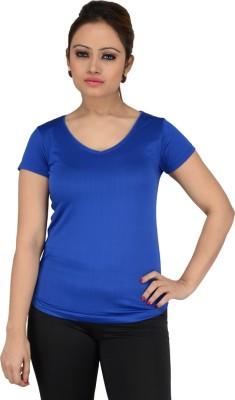 Download Apparel Solid Women,s V-neck Blue T-Shirt
