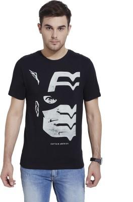 Slub By INMARK Printed Men's Round Neck Black T-Shirt