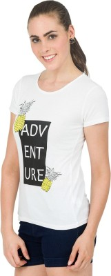 Alibi Printed Women's Round Neck Beige T-Shirt