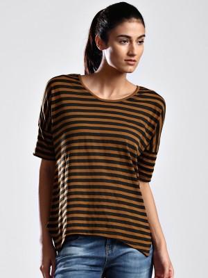 HRX Striped Women's Round Neck Black T-Shirt