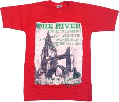 Groverz Printed Boy's Round Neck Red T-Shirt