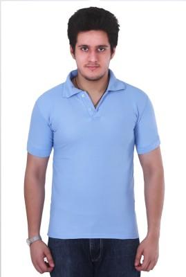 NGT Solid Men's Polo Neck Light Blue T-Shirt