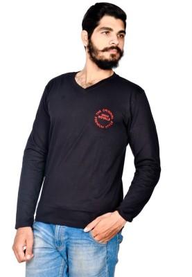 Indian Royal Embroidered, Solid Men's V-neck Black T-Shirt