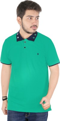Yellow Dots Solid Men's Flap Collar Neck Green T-Shirt