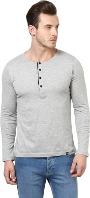 BUKKL Solid Men's Henley Grey T-Shirt