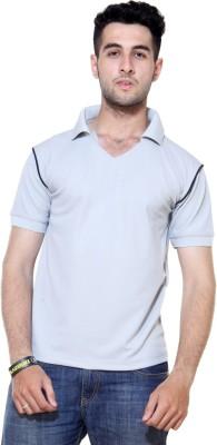 Ashdan Solid Men's Mock Neck Blue T-Shirt