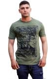 Tuntuk Printed Men's Round Neck Green T-...