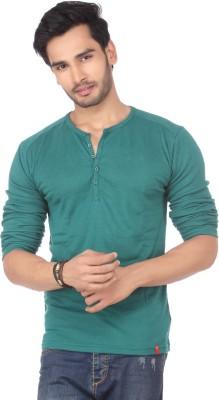 DXI Solid Men's Henley Green T-Shirt