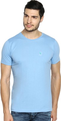 The Indian Garage Co. Solid Men's Round Neck Blue T-Shirt