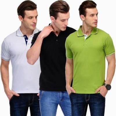 Scott International Solid Men's Polo White, Green, Black T-Shirt