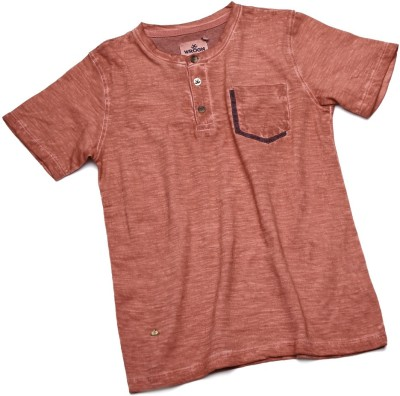 WROGN Solid Boy's Round Neck Red T-Shirt