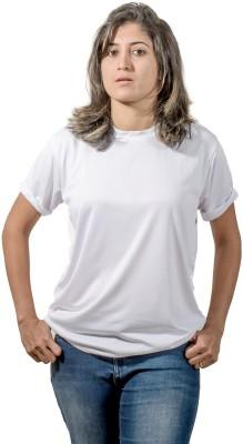 One11 Solid Women's Round Neck White T-Shirt