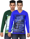 Lyril Printed Men's V-neck Green T-Shirt...