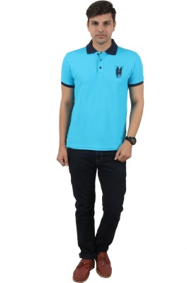 zing polo wear Solid Men's Polo Blue T-Shirt