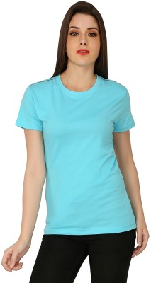 The Cotton Company Solid Women's Round Neck Light Blue T-Shirt