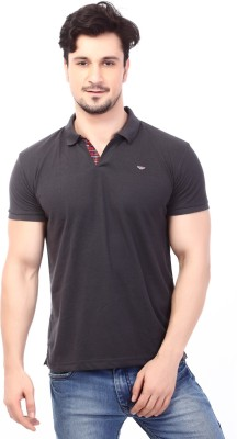 Rugby Solid Men's Polo Neck Black T-Shirt