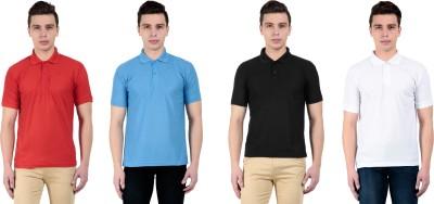 vestiario Solid Men's Polo Neck Multicolor T-Shirt