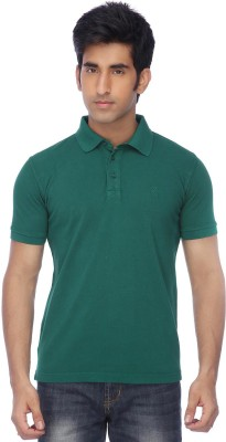 Life by Shoppers Stop Solid Men's Polo Neck Green T-Shirt