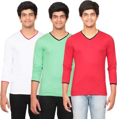 Graceful Self Design Men's V-neck White, Green, Red T-Shirt